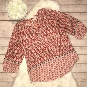 Beachlunchlounge Ikat 3/4 Length Peasant Top